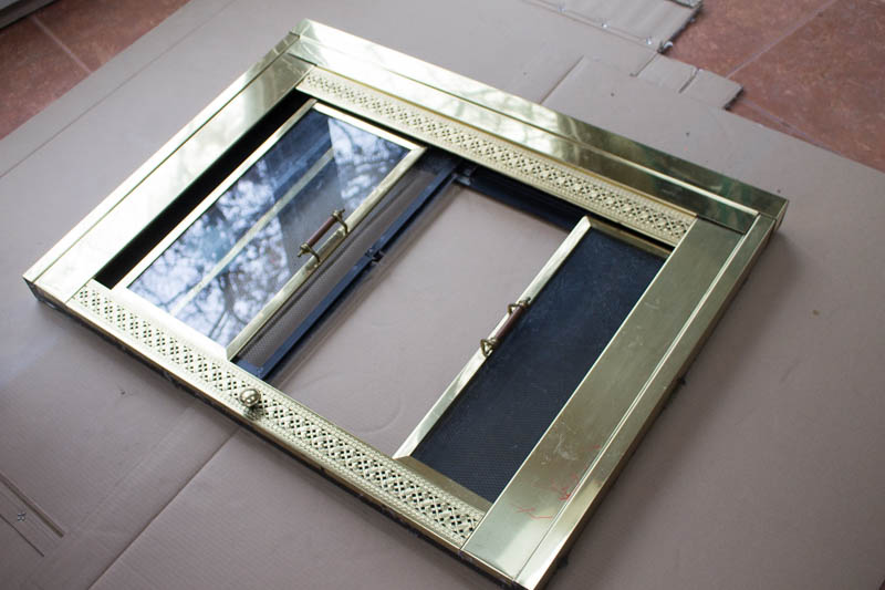 Fireplace Door Update With Spray Paint Roots Wings Furniture Llc