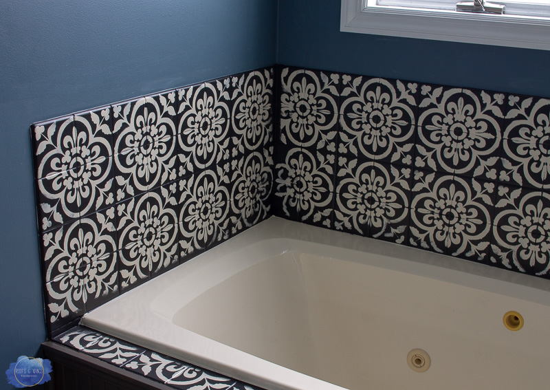 how to stencil  seal bathroom tile • roots  wings